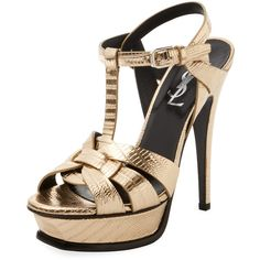 Saint Laurent Paris Women's Tribute 105 Embossed Metallic Leather... ($700) ❤ liked on Polyvore featuring shoes, sandals, gold, gold leather sandals, metallic gold sandals, leather ankle strap sandals, platform shoes and gold ankle strap sandals