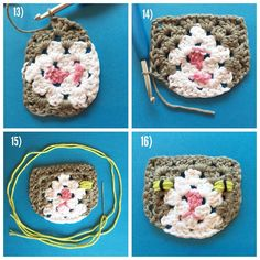Part 4 - Grannysquare Cat (USA terms) #grannysquarecat 13) Chain 3, then flip your work over. Now make a 3DC cluster in the next chain space. 14) Continue on as you would any regular granny square: 3DC, Ch2, 3DC in the corner spaces, and 3DC in the side spaces. When you come to the last chainsaw on the left side of the face, just do 1DC. Cut the yarn, and weave it in. 15) Time to embroider the eyes. Flip face back to the front. Thread a needle with desired color, and wrap 6 times around t...