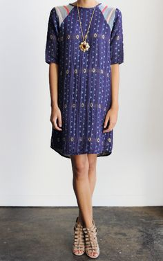 Love the shape (or lack there of) of this dress! The pattern is darn cute, too!