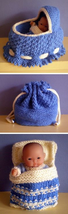 """Free Knitting Pattern for Doll Cradle Bag - The sides of Frankie Brown'sknitted cradle fold up over a doll to make a drawstring bag perfect to keep doll cozy and safe during travel or storage. Cradle will fit a 5"""" baby doll or similar size toy. Includes a pattern for a set of matching bedding."""
