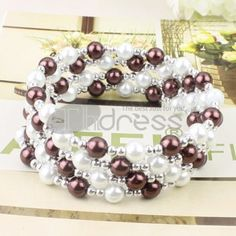 White + brown pearl bracelet