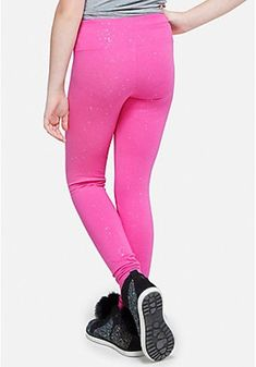 f4cc9586a23bde Justice Girls Size 20 PINK Glitter Full Length Leggings New with Tags | eBay