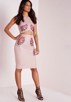 Faux Leather Embroidered Midi Skirt Pink - Embroidered - Skirts - Missguided