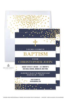 Boy Baptism Invitation Navy and Gold Baptism Invite Stripe Boy Christening Invitation Printed Baptism Party Invitations Printable - Krissy style by Digibuddha