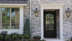 Charcoal Antique M - Maybe my fav brick? White Wash Brick Exterior, White Siding, Stone Exterior, Exterior Colors, Exterior Design, Exterior Paint, Grey Brick Houses, Modern Farmhouse Exterior, Farmhouse Renovation
