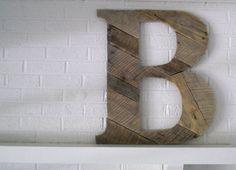 Wooden Letter B Custom Wood Monogram by ConversationBits on Etsy