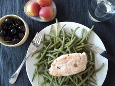 Chicken with green beans Adaptation: use butter/oil and lemon juice on the beans and add some sliced almonds.