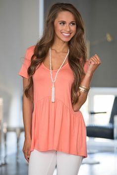 Give It A Whirl Peplum Blouse Peach - The Pink Lily