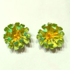 Lilly Pulitzer like vintage clip on earrings Neon green and yellow. So cute for summer! Jewelry Earrings
