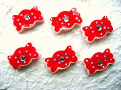 Red Candy Kawaii Cabochons 6pcs 23mm by DecoSweets on Etsy, $2.75