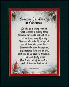 "memorial poems for loved ones at christmas | Someone Is Missing At Christmas"" (Female) 8x10 Heartfelt Poem, Double ..."