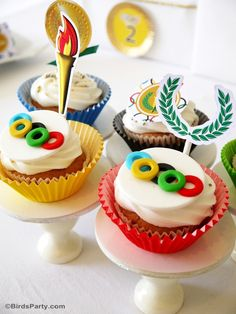 Olympics inspired cupcakes for a sporty birthday party or event!