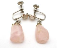 Spring Sale Vintage Rose Quartz Earrings Pink Gemstone Screwback Silver Dangle