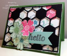 Hexagon Hive Hello Card (Hexagon Hive Thinlit, Flower Shop Stamps, Banner Framelit, Simply Celebrate stamp)