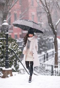 Boston, MA // Snow Day Style in Cream, Gray + Navy