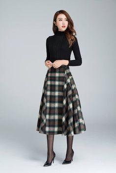 Vintage plaid skirt Wool skirt tartan skirt winter skirt Vintage Skirt long plaid skirt womens skirt Christmas gift by xiaolizi Long Plaid Skirt, Plaid Wool Skirt, Plaid Skirts, Wool Skirts, Plaid Fabric, Tartan Plaid, Tartan Skirt Outfit, Women's Skirts, Retro Skirts