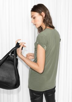 & Other Stories image 3 of Cupro Top  in Khaki Green