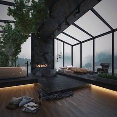 Home Room Design, Dream Home Design, Modern House Design, My Dream Home, Luxury Modern House, Glass House Design, Loft Design, Dream House Interior, Luxury Homes Dream Houses