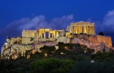 "Early night view of de Propylaea n de Parthenon, on top of ""sacred rock"" of de Acropolis. Attica Greece, Athens Greece, Parthenon Athens, World Travel Guide, Travel Guides, Greece Holiday, Ancient Greece, Wonders Of The World, The Good Place"