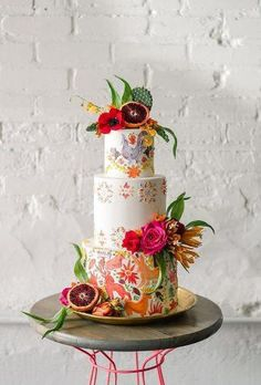Tropical colors contrasted this cake's otherwise southwestern motifs like desert animals, citrus, and floral accents, but Autumn Nomad seamlessly tied the two looks together. Pink Wedding Rings, Wedding Cake Fresh Flowers, Fresh Flower Cake, Floral Wedding Cakes, Cool Wedding Cakes, Wedding Cupcakes, Real Flowers, Mexican Wedding Decorations, Mexican Wedding Dresses