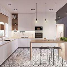 muebles de cocina en blanco piso mosaico estilo nordico