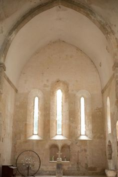 Simplicity inside an old chapel.