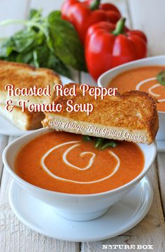 Roasted Red Pepper Tomato Soup with Asiago-Feta Grilled Cheese