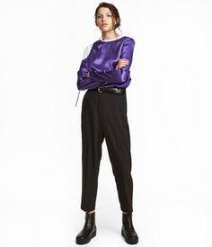 Укороченные костюмные брюки | Черный | ЖЕНЩИНЫ | H&M KZ