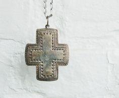 Vintage Cross Pendant Sterling Silver