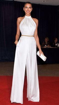 37f6fbdf447f Irina Shayk in white evening jumpsuit. Ladies Fashion