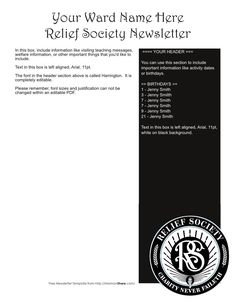 Free Relief Society Newsletter Template. Editable!
