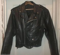 black mens' leather motorcycle jacket belted waist size 44/46 #Unbranded #Motorcycle