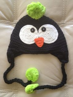 Crochet Handmade animal hats penguin pompom neon green colors stripe cute $18.00