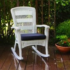 Alcott Hill Ray Rocking Chair with Cushions Color: White Wicker Rocker, Wicker Rocking Chair, Outdoor Rocking Chairs, Wicker Chairs, Patio Chairs, Chair Cushions, Outdoor Patio Swing, Outdoor Patio Umbrellas, Living Room Decor Furniture