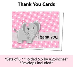 Pink Elephant Baby Shower or Birthday Party Thank You Card