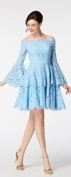 Scalloped tiered short prom dresses long sleeves off the shoulder boho prom dresses light blue