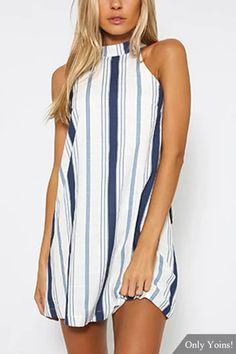 The navy stripe mini dress is a cute little number ideal for the daytime! Featuring a relaxed style, halter neckline, sleeveless mini dress. Style with ankle boots to completed you chic look! style stripe # Halter neck # Open back Casual Dresses, Short Dresses, Fashion Dresses, Maxi Dresses, Fashion Clothes, Dress Skirt, Dress Shoes, Summer Dresses, Halter Mini Dress