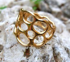 Women gold ring. Gold lace ring. Bubble coral reef by shmukies