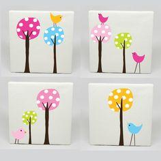 Kids canvas art set of 4 polka dot tree birds nursery childrens wall prints Kids Canvas Art, Diy Canvas, Tree Canvas, Art Diy, Diy Wall Art, Diy And Crafts, Crafts For Kids, Arts And Crafts, Painting For Kids