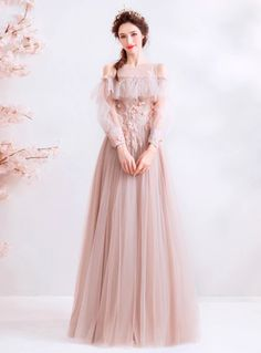 In Stock:Ship in 48 Hours Pink Tulle Appliques Cold Shoulder Long Sleeve Prom Dr. - In Stock:Ship in 48 Hours Pink Tulle Appliques Cold Shoulder Long Sleeve Prom Dress Source by ell_en_a - Prom Dresses Long With Sleeves, Prom Dresses For Sale, Prom Dresses Online, Vintage Prom Dresses, Sleeve Dresses, Club Dresses, Elegant Dresses, Pretty Dresses, Beautiful Dresses