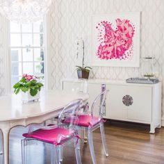 furniture refinishing white dining room with lucite chairs and pink art