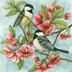 Two Chickadees By Elena Vladykina