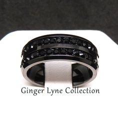 Black Band, Titanium Black Crystal Wedding Band Ring
