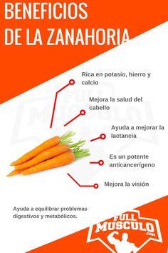 Infografía de los beneficios de la zanahoria. Rica en potasio, hierro y calcio, mejora la salud del cabello, ayuda a mejorar la lactancia, es un potente anticancerígeno y mejora la visión. Ayuda a equilibrar problemas digestivos y metabólicos.