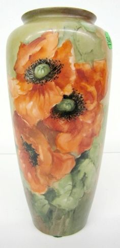 Hand Painted American Belleek Vase w/Poppies http://www.liveauctioneers.com/item/8191798