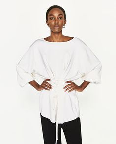 Image 2 of LONG SWEATER WITH CORDS AT THE WAIST from Zara