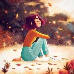 Art And Illustration, Leaves Illustration, Illustrations, Cartoon Drawings, Cartoon Art, Cute Drawings, Fall Drawings, 3d Modelle, Digital Art Girl