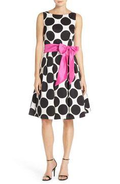 Eliza J Belted Polka Dot Woven Fit & Flare Dress