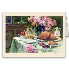 """Thanksgiving Dinner"" Vintage Greeting Card"