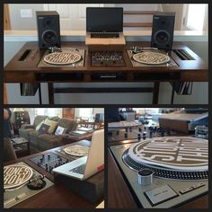 his table is amazing! Thanks to & for building and designing this DJ table for me! Record Shelf, Record Storage, Turntable Setup, Dj Dj Dj, Dj Stand, Dj Table, Record Player Stand, Dj Decks, Serato Dj